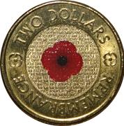 2 Dollars - Elizabeth II (Remembrance Day - Poppy Flower; Colourised) -  reverse