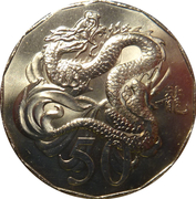 50 Cents - Elizabeth II (Lunar Year of the Dragon) -  reverse