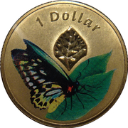 1 Dollar - Elizabeth II (4th Portrait - Cairns Birdwing) -  reverse