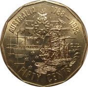 50 Cents - Elizabeth II (3rd Portrait - First Fleet Bicentenary) -  reverse