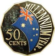 50 Cents - Elizabeth II (Millennium- colourised) -  reverse