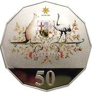 50 Cents - Elizabeth II (Federation - Colourised) -  reverse