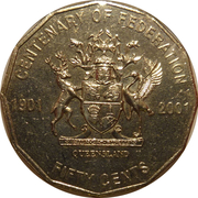 50 Cents - Elizabeth II (Queensland) -  reverse