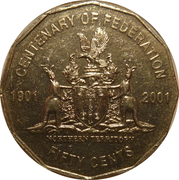 50 Cents - Elizabeth II (Northern Territory) -  reverse