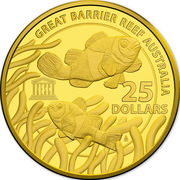 25 Dollars - Elizabeth II (4th Portrait - UNESCO Great Barrier Reef - Gold Bullion Coin) -  reverse