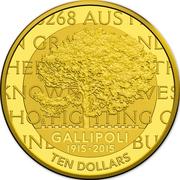 10 Dollars - Elizabeth II (4th Portrait - 100th Anniversary of the Gallipoli Landing - Gold Proof) -  reverse
