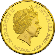 100 Dollars - Elizabeth II (4th Portrait - Longest-Reigning Commonwealth Monarch - Gold Bullion Coin) -  obverse