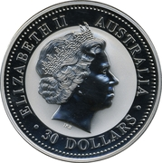30 Dollars - Elizabeth II (4th Portrait - Year of the Rooster - Silver Bullion Coin) -  obverse