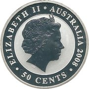 50 Cents - Elizabeth II (4th Portrait - Koala - Silver Bullion Coin) -  obverse