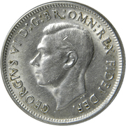 "1 Shilling - George VI (without ""IND:IMP"") – obverse"