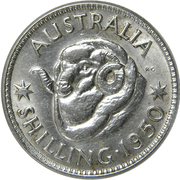 "1 Shilling - George VI (without ""IND:IMP"") – reverse"