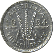 "3 Pence - Elizabeth II (1st Portrait; without ""F:D:"") – reverse"