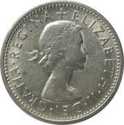 "1 Shilling - Elizabeth II (without ""F:D:"") -  obverse"