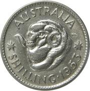 "1 Shilling - Elizabeth II (without ""F:D:"") -  reverse"