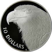 10 Dollars - Elizabeth II (3rd Portrait - Wedge-tailed Eagle - Silver Proof) – reverse