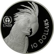 10 Dollars - Elizabeth II (3rd Portrait - Palm Cockatoo UNEP - Piedfort) -  reverse