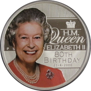 1 Dollar - Elizabeth II (4th Portrait - Queen Elizabeth II 80th Birthday) -  reverse