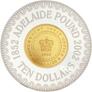 10 Dollars - Elizabeth II (4th Portrait - Adelaide Pound - Bimetal Gilt) -  reverse