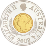 10 Dollars - Elizabeth II (4th Portrait - Sydney Mint Sovereign - Bimetal Gilt) -  obverse