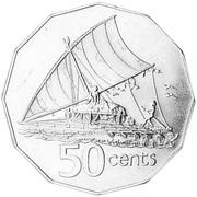 50 Cents - Elizabeth II (Fiji Reverse Mule) -  reverse