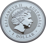 "1 Dollar - Elizabeth II (4th Portrait - ""Lunar Year Series"" Silver Bullion Coinage - partially gilt) -  obverse"