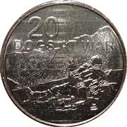 20 Cents - Elizabeth II (4th Portrait - Dogs at War) -  reverse