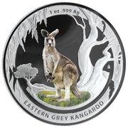 1 Dollar - Elizabeth II (4th Portrait - Eastern Grey Kangaroo - Colourised) -  reverse