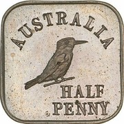 ½ Penny - George V (Kookaburra Pattern - Type 1) -  reverse