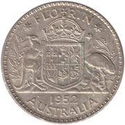 "1 Florin - George VI (without ""IND:IMP"") – reverse"