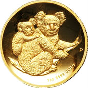 100 Dollars - Elizabeth II (4th Portrait - Koala - Gold Bullion Coin) -  reverse