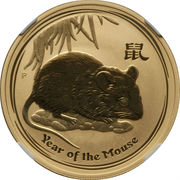 100 Dollars - Elizabeth II (4th Portrait - Year of the Mouse - Gold Bullion Coin) -  reverse