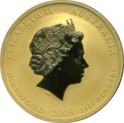 1000 Dollars - Elizabeth II (4th Portrait - Year of the Ox - Gold Bullion Coin) -  obverse