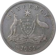 """6 Pence - George VI (without """"IND:IMP"""") – reverse"""