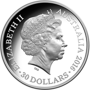 30 Dollars - Elizabeth II (4th Portrait - 2016 Australian Olympic Team - Silver Proof) -  obverse