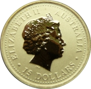 15 Dollars - Elizabeth II (4th Portrait - Year of the Snake - Gold Bullion Coin) -  obverse