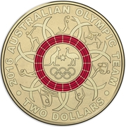 2 Dollars - Elizabeth II (2016 Australian Olympic Team - Red) -  reverse