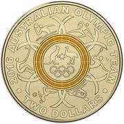 2 Dollars - Elizabeth II (2016 Australian Olympic Team - Yellow) -  reverse