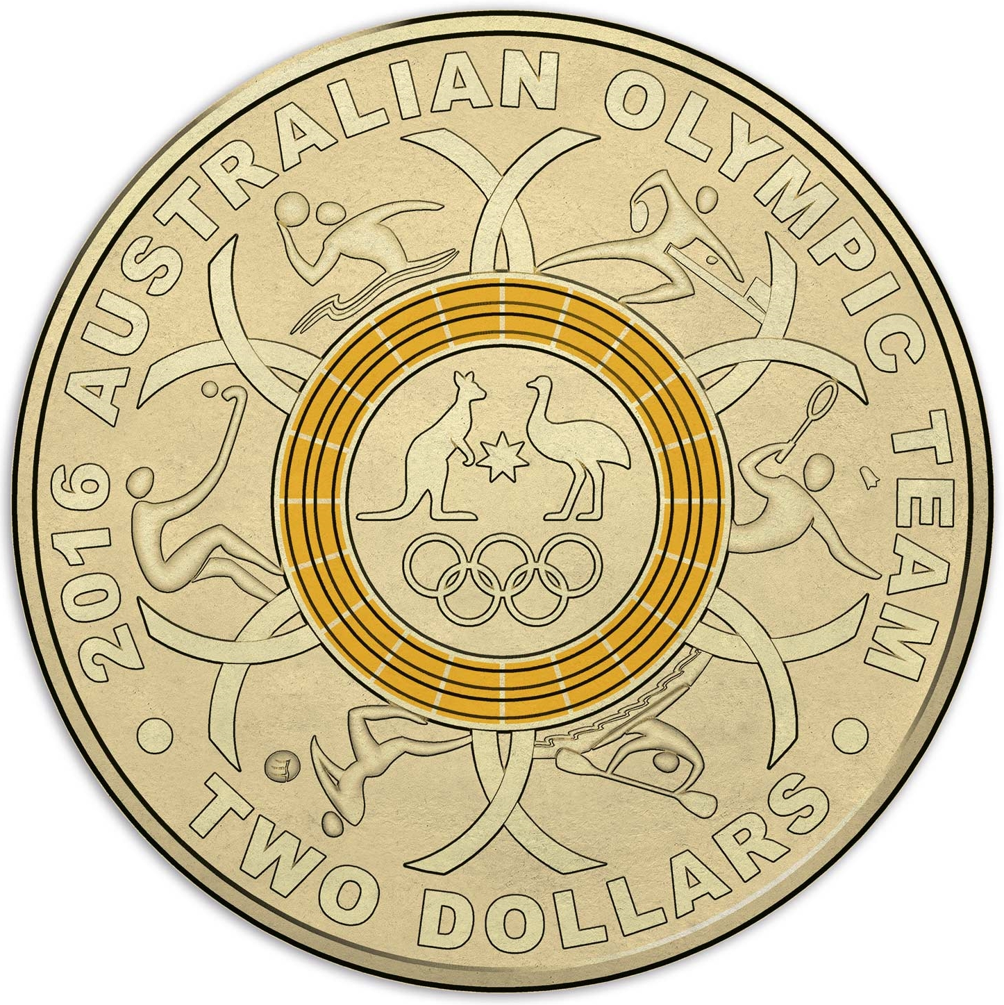 2 Dollars Elizabeth Ii 2016 Australian Olympic Team