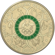 2 Dollars - Elizabeth II (4th Portrait - 2016 Australian Olympic Team - Green) -  reverse