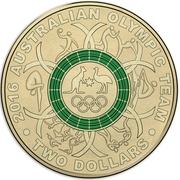 2 Dollars - Elizabeth II (2016 Australian Olympic Team - Green) -  reverse