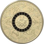 2 Dollars - Elizabeth II (2016 Australian Olympic Team - Black) -  reverse