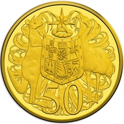 50 Cents - Elizabeth II (4th Portrait - 50th Anniversary of Decimal Currency - Gold Proof) -  reverse
