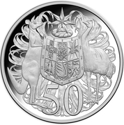 50 Cents - Elizabeth II (4th Portrait - 50th Anniversary of Decimal Currency - Silver Proof) -  reverse