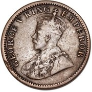 ½ Penny - George V (Indian ¼ Anna Obverse Mule) – obverse