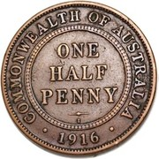 ½ Penny - George V (Indian ¼ Anna Obverse Mule) – reverse