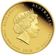 15 Dollars - Elizabeth II (4th Portrait - Year of the Monkey - Gold Bullion Coin) – obverse