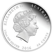 50 Cents - Elizabeth II (4th Portrait - Year of the Monkey - Colourised) -  obverse
