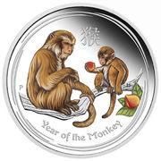 50 Cents - Elizabeth II (4th Portrait - Year of the Monkey - Colourised) -  reverse