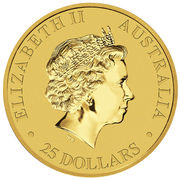 25 Dollars - Elizabeth II (4th Portrait - Kangaroo - Gold Bullion Coin) -  obverse
