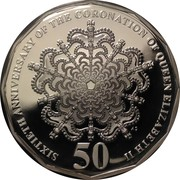 50 Cents - Elizabeth II (60th Anniversary of the Coronation of Her Majesty Queen Elizabeth II; Silver Proof) -  reverse